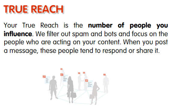 Klout True Reach Score = a modified measurement of Degree