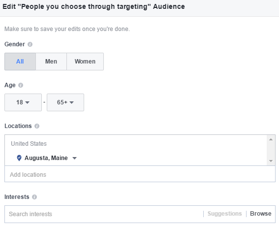 Facebook Advertising allows for demographic, geographic and interest-based targeting