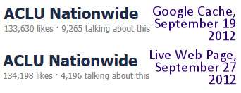 ACLU Facebook page Google Cache and Live Facebook page count, 9-19 and 9-27 2012
